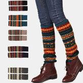 Donna Lana Plus Addensare Mantieni caldo Stripe Modello Leggings copri stivali invernali Calze Calze