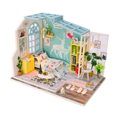 Doll House Puzzle Assemble 3D Miniaturas Dollhouse Kits Light House for Dolls Handmade Toys for Children Birthday Gift