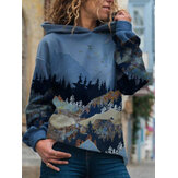 Landscape Print Hooded Long Sleeve Casual Hoodie For Women