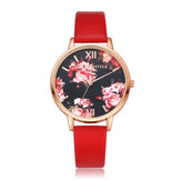 LVPAI P086 Flower Display Elegant Design Ladies Wrist Watch PU Leather Band Quartz Watch