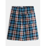 Men Casual Plaid Pocket Cotton Casual Home Bath Sleepwear Skirts