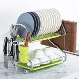 Suporte para organizadores de assados de aço inoxidável para pratos de talheres Organizador de cozinha Suporte para prateleiras de secagem Secador Bandeja de escorredor de 2 camadas