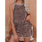 Women Leopard Sleeveless Softies Round Neck Loose Pajama Set