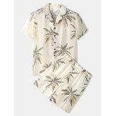 Mens Tropical Coconut Tree Print Revere Collar Short Sleeve Cozy Faux Silk Home Pajama Set
