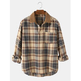 Mens Vintage Plaid Casual Fit Cotton Long Sleeve Henley Shirts With Pocket