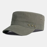 Men Cotton Solid Color Five-pointed Star British Fashion Sunscreen Sunshade Flat Cap Military Hat