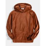 Banggood Design Mens Velvet Solid Color Kangaroo Pocket Simple Hoodies
