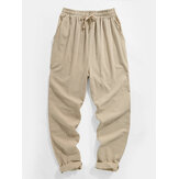 Mens Solid Color Plain Drawstring Elastic Waist Pants With Pocket