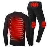 30-50 ℃ Uomo Donna Set biancheria intima riscaldata elettrica Camicia + Intimo per pantaloni Inverno caldo Riscaldamento Abbigliamento termico Escursionismo all'aperto Sci Moto Ciclismo Top Pantaloni Tuta