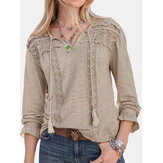 Lace Patchwork V-neck Hollow Solid Casual Blouse