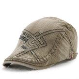 Unisex coton lavé broderie béret chapeau duckbill Golf Capuchon cabbie visière