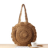 Casual Straw Hollow Out Round Bag Shoulder Bag For Women