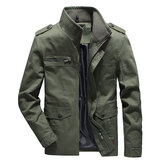 Mens Cotton multi-pocket Autumn Jaket Cargo Luar Ruangan