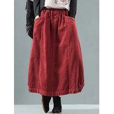 Mujer vendimia Faldas holgadas de invierno de pana con cintura elástica
