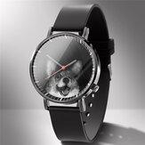 Fashion Quartz Watch Animal Print Men Business Watch Cute Black-White Dogs Cats Pattern Women Quartz Watch