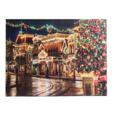LED Home Decor Light Up Christmas Street Art Canvas Picture X'mas Decor Wall Hanging LED Painting String Lights