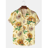 Mens Sunflower Floral Print Fold Down Collar Short Sleeve Holiday Casual Shirts