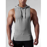 Men Casual Cotton Solid Color Hooded Sleeveless Sport Tank Tops