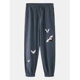 Men Casual White Crane Embroidery Home Harem Pants