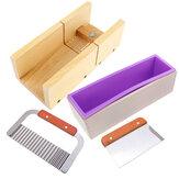 Drewniane pudełko Formy do produkcji mydła silikonowego Bochenek z foremką do cięcia mydła