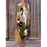 Богемный Женское с длинным рукавом V Шея Ежедневный повседневный цветочный принт Maxi Платье