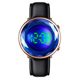 SKMEI 1460 Creative Three-dimensional Cut Glass Dial Luminous Date Display Genuine Leather Strap Digital Watch