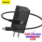 [GaN Tech] Baseus 45W USB-C Wall شاحن 2-Port PD3.0 QC3.0 AFC SCP Quick شحن محول مع قابس أمريكي قابل للطي + 60 واط USB-C إلى USB-C Fast شحن Cable