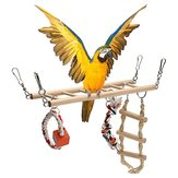 Wooden Bird Parrot Parakeet Cockatiel Ladder Hammock Swing Chew Hanging Toys
