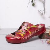 SOCOFY Handmade Leather Floral Elastic Band Cutout Stitching Slip on Slides Flat Mules Sandals