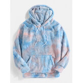 Mens Tie-Dye Plush Fluffy Long Sleeve Teddy Hoodies With Pocket