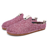 SOCOFY Solid Color Metal Buckle Household Cotton Slip On Indoor Flat Home Shoes Slippers