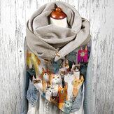 Mulheres Colorful Multi Cartoon Cute Cats Padrão Soft Proteção de pescoço de personalidade lenço para manter quente