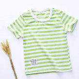Summer Casual Stripe Short Sleeve Cotton T-shirts For Children