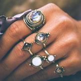 6 Stk. Vintage Knuckle Ring Set Kopfstein Geometrischer Finger