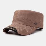 Męski bawełniany jednokolorowy nadruk literowy Casual Outdoor Flat Hat Wojskowy kapelusz