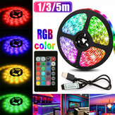 1M 3M 5M USB RGB 5050 LED Tira de luz No impermeable / Impermeable Fondo de TV PC Lámpara con 24 teclas Control remoto