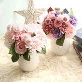 Rose Artificial Flowers Bridal Bouquet Fake Flower for Home Wedding Decoration