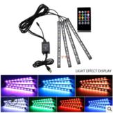 Carro LED Luz do Pé Lâmpada Ambiente USB Sem Fio remoto Controle de Música Luzes Automotivas Interiores Decorativas