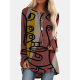 Vintage Printed Long Sleeve O-neck Asymmetrical Blouse For Women