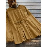 Blusa feminina vintage de algodão elástico com guarnição na cintura e cor sólida