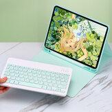 Tastiera wireless Bluetooth 2-IN-1 con portapenne Custodia protettiva per tablet pieghevole in pelle PU pieghevole per iPad 2019 10,2 pollici