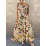Vintage Women Sleeveless O-neck Floral Print Maxi Dress