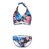Mulheres Sexy Swimsuit Triangular Gravata Pendurado No Pescoço Flor Impressão Bikini Set