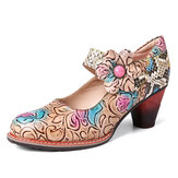 SOCOFY Retro Leather Floral Splicing Snakeskin Round Toe Chunky Heel Pumps