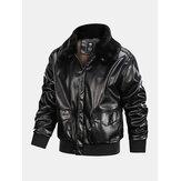 Mens Zipper Big Flap Pocket Fur Collar Cargo PU Jacket