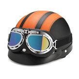 UV Gözlüklü Retro Motosiklet Yarım Açık Yüz Deri Kask Scooter