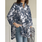 Women Floral Print Lapel Collar High Low Split Hem Long Sleeve Casual Shirts