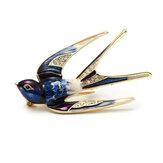 Elegant Swallow Bird Spilla Pins Colorato Strass smaltato