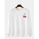 Cotton Mens Cartoon Cat Pattern Pullover Drop Shoulder Simple Long Sleeve Sweatshirts