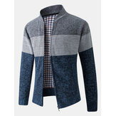 Cardigan da uomo in cotone con zip frontale a costine patchwork color block con tasca